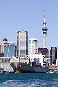 Chinese Container ship Ruiyunhe departs ports of Auckland dock.