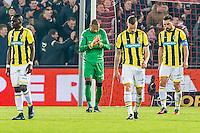 ROTTERDAM - Feyenoord - Vitesse , Voetbal , Eredivisie , Seizoen 2016/2017 , De Kuip , 16-12-2016 , Vitesse spelers Vitesse speler Marvelous Nakamba (l) Vitesse keeper Eloy Room (2e l) bv3 (2e r) en Vitesse speler Guram Kashia (r) balen na de 1-0 tegen