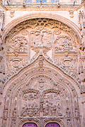 Ornate stone carving of doorway of Cathedral of Salamanca, Spain