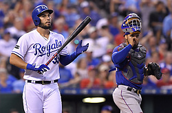 July 15, 2017 - Kansas City, MO, USA - Kansas City Royals' Eric Hosmer walks from the plate after striking out in the ninth inning during Saturday's baseball game against the Texas Rangers July 15, 2017 at Kauffman Stadium in Kansas City, Mo. The Rangers won, 1-0. (Credit Image: © John Sleezer/TNS via ZUMA Wire)