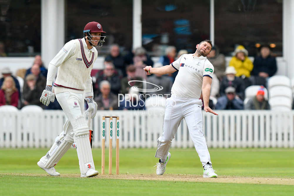 Tim Bresnan of Yorkshire bowling during the third day of the Specsavers County Champ Div 1 match between Somerset County Cricket Club and Yorkshire County Cricket Club at the Cooper Associates County Ground, Taunton, United Kingdom on 29 April 2018. Picture by Graham Hunt.