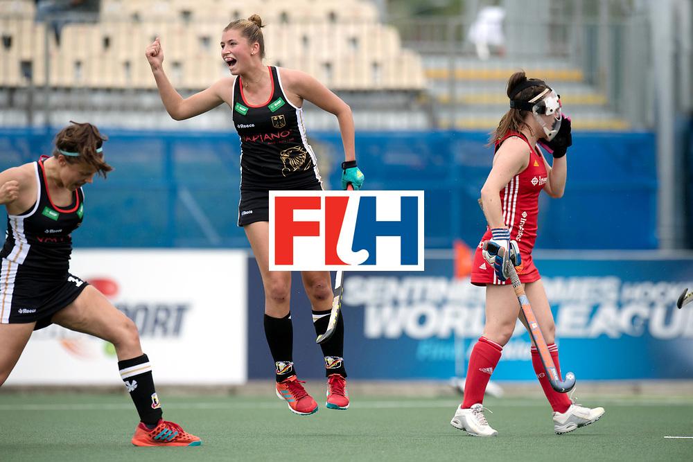 AUCKLAND - Sentinel Hockey World League final women<br /> Match id 10293<br /> 03 England v Germany <br /> Foto:  0-1 celebration Germany, Charlotte Stapenhorst scores and Hanna Granitzki jumps.<br /> WORLDSPORTPICS COPYRIGHT FRANK UIJLENBROEK