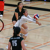 Harker vs Norte Dame Belmont in the Division IV CCS volleyball championship match at Gunn High School, Palo Alto CA on 11/3/18. (Photograph by Bill Gerth)