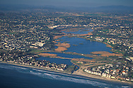 Aerial over Buena Vista Lagoon, Carlsbad,+Northern San Diego Region Coastline San Diego County, CALIFORNIA