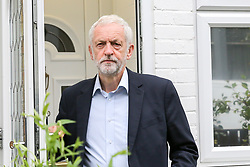 © Licensed to London News Pictures. 09/07/2019. London, UK. Leader of the Labour Party Jeremy Corbyn leaves his home in north London shortly before Labour announced it would back a Remain and call for a new EU referndum. Jeremy Corbyn is facing pressure from members of the Shadow Cabinet to change the Party's position on Brexit. Photo credit: Dinendra Haria/LNP