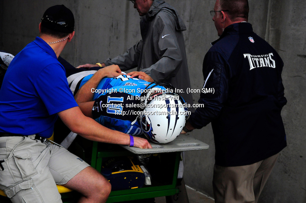 September 29, 2013 - Nashville, TN, U.S. - Tennessee Titans quarterback Jake Locker (10) is carted off the field after an injury suffered against the New York Jets during 2nd half action at LP Field in Nashville, Tn
