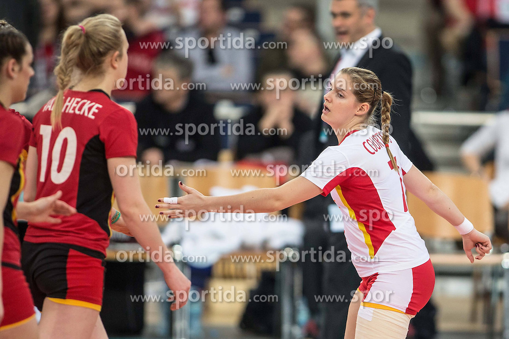 04.01.2014, Atlas Arena, Lotz, POL, FIVB, Damen WM Qualifikation, Belgien vs Schweiz, im Bild VALERIE COURTOIS // VALERIE COURTOIS during the ladies FIVB World Championship qualifying match between Belgium and Switzerland at the Atlas Arena in Lotz, Poland on 2014/01/05. EXPA Pictures &copy; 2014, PhotoCredit: EXPA/ Newspix/ Radoslaw Jozwiak<br /> <br /> *****ATTENTION - for AUT, SLO, CRO, SRB, BIH, MAZ, TUR, SUI, SWE only*****