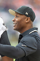 06 October 2013: Player personnel director Fred McAfee of the New Orleans Saints stands on the sideline against the Chicago Bears during the second half of the Saints 26-18 victory over the Bears in an NFL Game at Soldier Field in Chicago, IL.