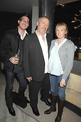 Left to right, THOMAS BUNN, VINCE POWER and NICOLA QUAYLE at the launch party for 'The End of Summer Ball' in Berkeley Square held at Nobu Berkeley, 15 Berkeley Street, London on 7th April 2008.<br />