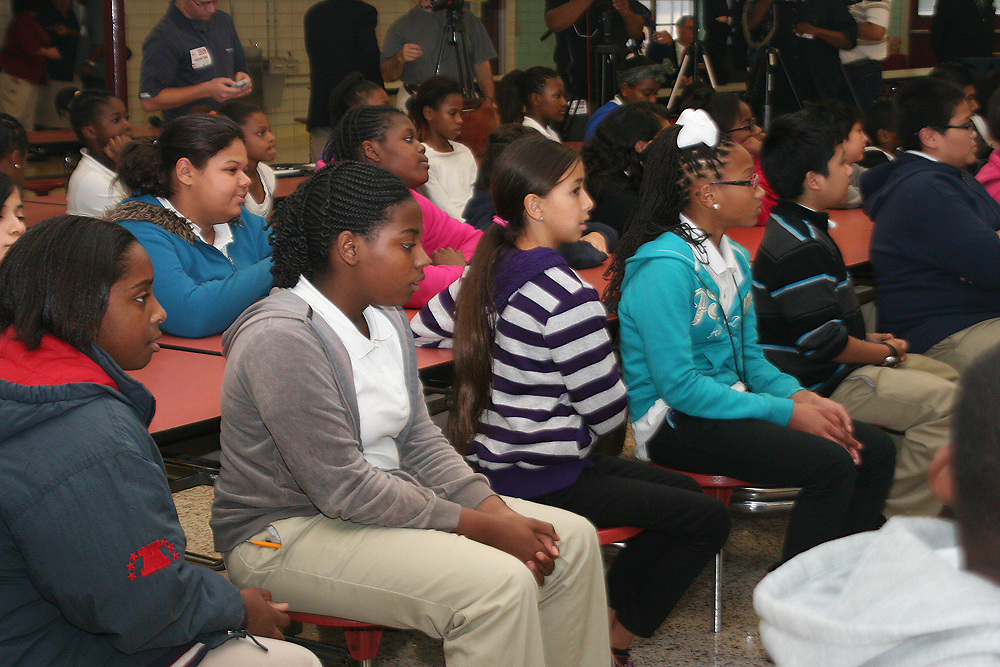 Rotary Lombardi Award nominees Jarvis Jones, an outside linebacker with the University of Georgia, and Jadeveon Clowney, a defensive end with the University of South Carolina, addressed 175 students at Cullen MS. Miss Texas USA Ali Nugent was also on hand.