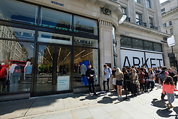 August 18, 2017 - London, London, UK - Customers queue outside for the opening of H&M groupÃ•s first Weekday clothing store in Regent Street. Weekday is know for its denizens offerings and minimalist styles, with 27 stores throughout Europe (Credit Image: © Ray Tang via ZUMA Press)