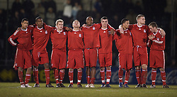 BRISTOL, ENGLAND - Thursday, January 15, 2009: Liverpool's players stand to watch the penalty shoot-out against Bristol Rovers during the FA Youth Cup match at the Memorial Stadium. L-R: Thomas Ince, Andre Wisdom, Chris Buchtmann, Jack Metcalf, David Amoo, James Ellison, Nathan Eccleston, captain Joe Kennedy and Steven Irwin. (Mandatory credit: David Rawcliffe/Propaganda)