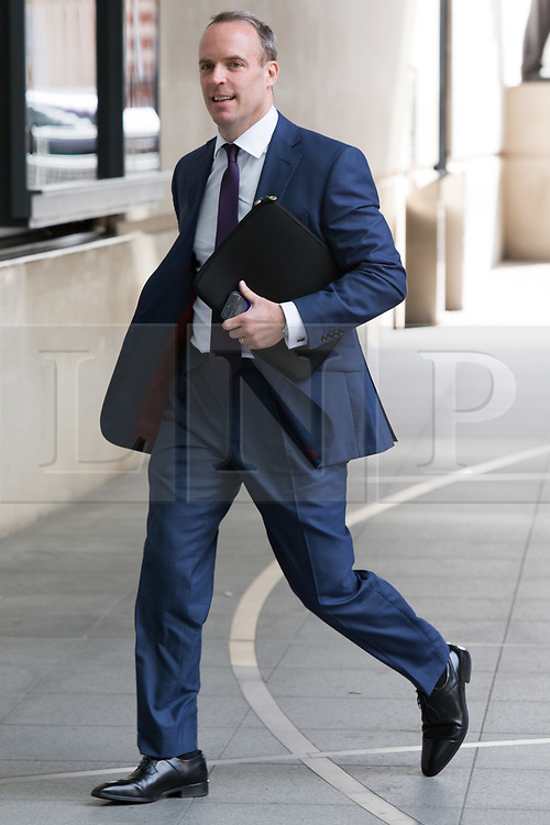© Licensed to London News Pictures. 26/05/2019. London, UK. DOMINIC RAAB MP is seen arriving at BBC Broadcasting Houses in London. A number of Conservative MPs have entered the race to be the new leader of the party. Photo credit: George Cracknell Wright/LNP