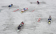 London, Great Britain.<br /> Crews working there way down the course towards the marshalling /turning area. 2016 Veterans&rsquo; Head of the River Race, Reverse Championship Course Mortlake to Putney. River Thames. Sunday  20/03/2016<br /> <br /> [Mandatory Credit: Peter SPURRIER;Intersport images]