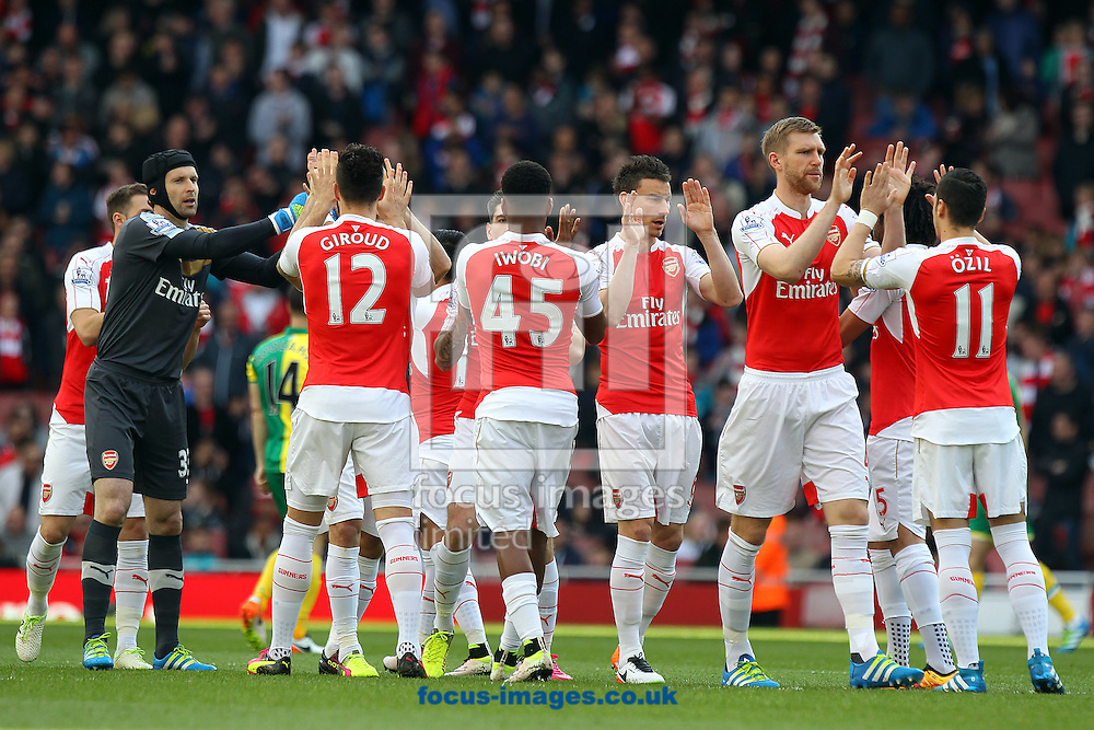 The Arsenal players before the Barclays Premier League match at the Emirates Stadium, London, UK.<br /> Picture by Paul Chesterton/Focus Images Ltd +44 7904 640267<br /> 30/04/2016