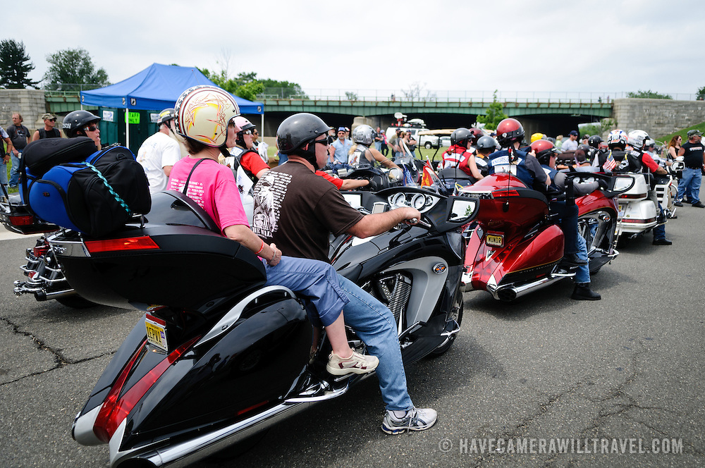 Participants head off at the beginning of the annual Rolling Thunder motorcycle rally through downtown Washington DC on May 29, 2011. This shot was taken as the riders were leaving the staging area in the Pentagon's north parking lot, where thousands of bikes and riders had gathered.