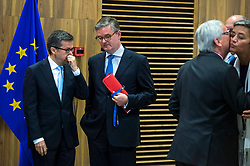 June 6, 2017 - Brussels, Bxl, Belgium - Carlos Moedas , EU commissioner for Research, science and innovation, Julian King, European Commissioner for Security Union, British, Jean-Claude Juncker , the president of the European Commission arrives to hold a minute of silence  at European Commission headquarters  in Brussels, Belgium on 06.06.2017 in tribute to the victims of the London attacks. Terrorist attackoccurred on the night of 03 to 04 June 2017 by Wiktor Dabkowski (Credit Image: © Wiktor Dabkowski via ZUMA Wire)