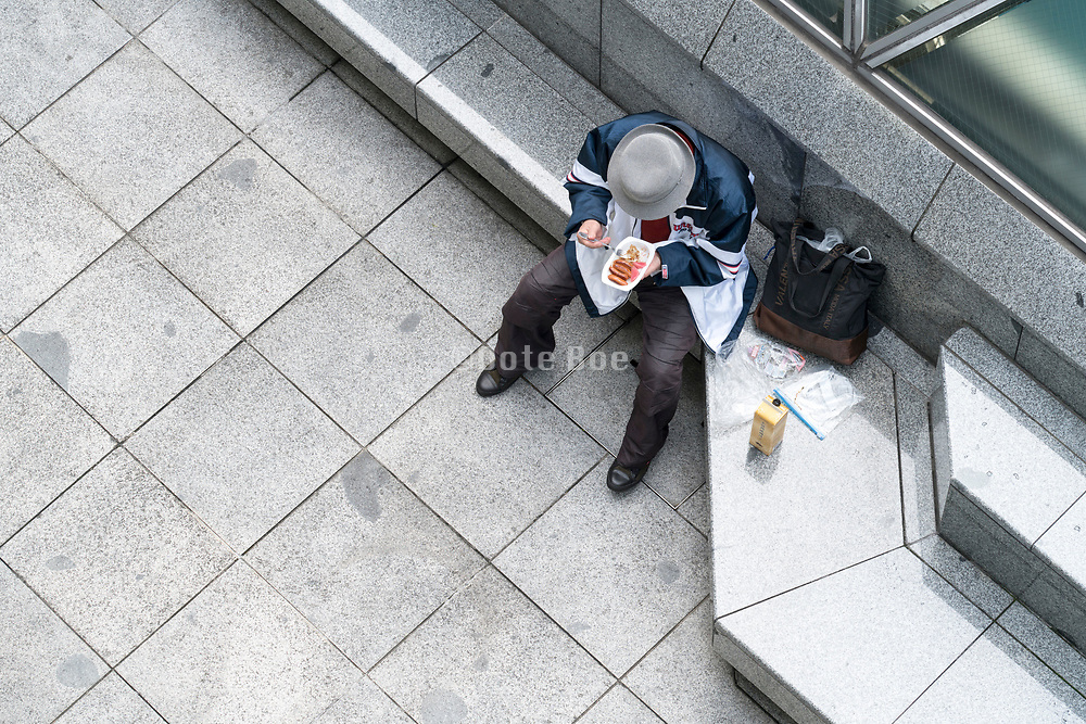 overhead view of a person eating