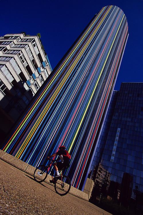 Mountain biking at La Defense, Paris