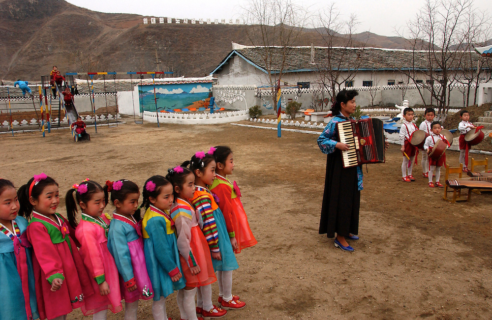 North Korea:.North Hwanghae Province..Kindergarten at Yonsan, where music and dancing are performed for a VIP visit..?Jeremy Horner.15 Mar 2004