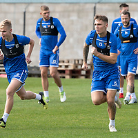 St Johnstone Training….<br />Jason Kerr and Ali McCann pictured during training at McDiarmid Park ahead of Sunday's game against Rangers<br />Picture by Graeme Hart.<br />Copyright Perthshire Picture Agency<br />Tel: 01738 623350  Mobile: 07990 594431