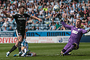 Lloyd Allinson (Huddersfield Town) makes himself as wide as possible to make the save during the Sky Bet Championship match between Huddersfield Town and Brentford at the John Smiths Stadium, Huddersfield, England on 7 May 2016. Photo by Mark P Doherty.