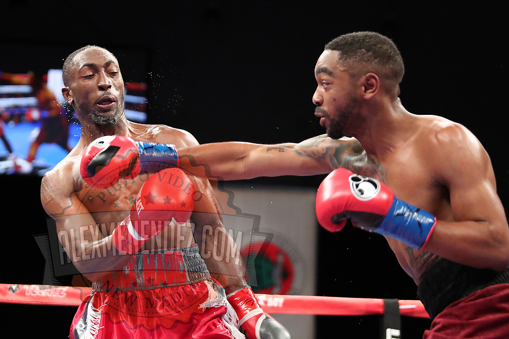 VERONA, NY - JUNE 08: Daquan Pauldo (R) punches Travell Mazion during the Golden Boy on ESPN fight night at Turning Stone Resort Casino on June 8, 2018 in Verona, New York. (Photo by Alex Menendez/Getty Images) *** Local Caption *** Daquan Pauldo; Travell Mazion