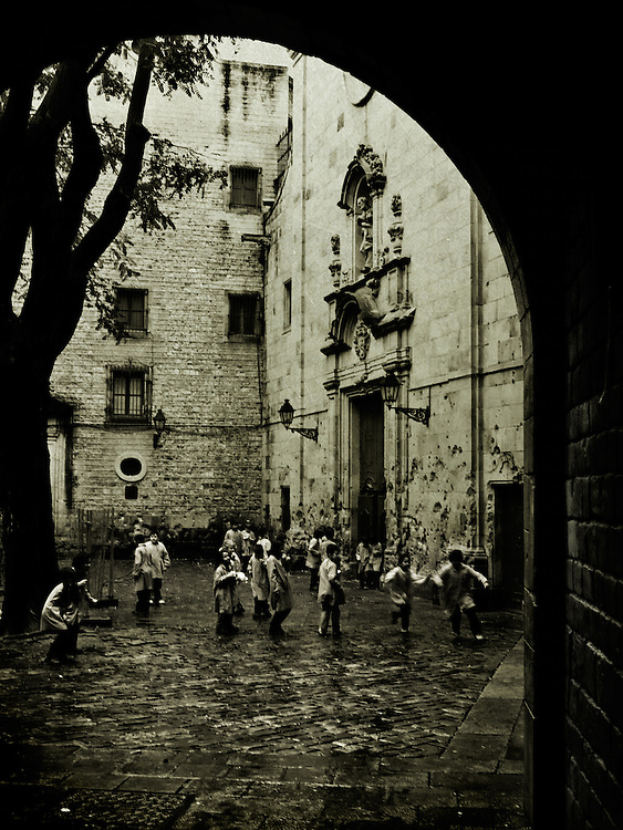 Children playing in a courtyard