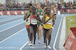 October 11, 2018 - Buenos Aires, Buenos Aires, Argentina - SARAH CHELANGAT of Uganda leads the field to win the Women's 3000m Stage 1 on Day 5 of the Buenos Aires 2018 Youth Olympic Games at the Olympic Park. (Credit Image: © Patricio Murphy/ZUMA Wire)