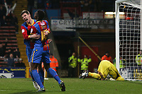 Football - 2012 / 2013 Championship - Crystal Palace vs. Blackpool <br /> Crystal Palace's Owen Garvan celebrates scoring with Crystal Palace's Wilfried Zaha while Blackpool's Matt Gilks lies on the floor at Selhurst Park, London