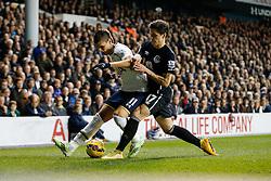 Erik Lamela of Tottenham Hotspur is challenged by Muhamed Besic of Everton - Photo mandatory by-line: Rogan Thomson/JMP - 07966 386802 - 30/11/2014 - SPORT - FOOTBALL - London, England - White Hart Lane - Tottenham Hotspur v Everton - Barclays Premier League.