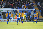 Goal - Sullay Kaikai of Shrewsbury Town (on loan from Crystal Palace) celebrates after making it 1-1 during the Sky Bet League 1 match between Shrewsbury Town and Port Vale at Greenhous Meadow, Shrewsbury, England on 25 March 2016. Photo by Mike Sheridan.