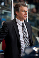 KELOWNA, CANADA -FEBRUARY 19: Head coach Jim Hillier of the Tri City Americans stands on the bench against the Kelowna Rockets on February 19, 2014 at Prospera Place in Kelowna, British Columbia, Canada.   (Photo by Marissa Baecker/Getty Images)  *** Local Caption *** Jim HIller;