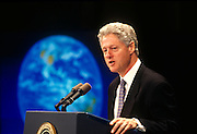 U.S. President Bill Clinton addresses Global Warming at a conference at Georgetown University October 6, 1997 in Washington, DC.