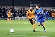 AFC Wimbledon defender George Francomb (7) dribbling during the EFL Trophy match between Barnet and AFC Wimbledon at Underhill Stadium, London, England on 29 August 2017. Photo by Matthew Redman.