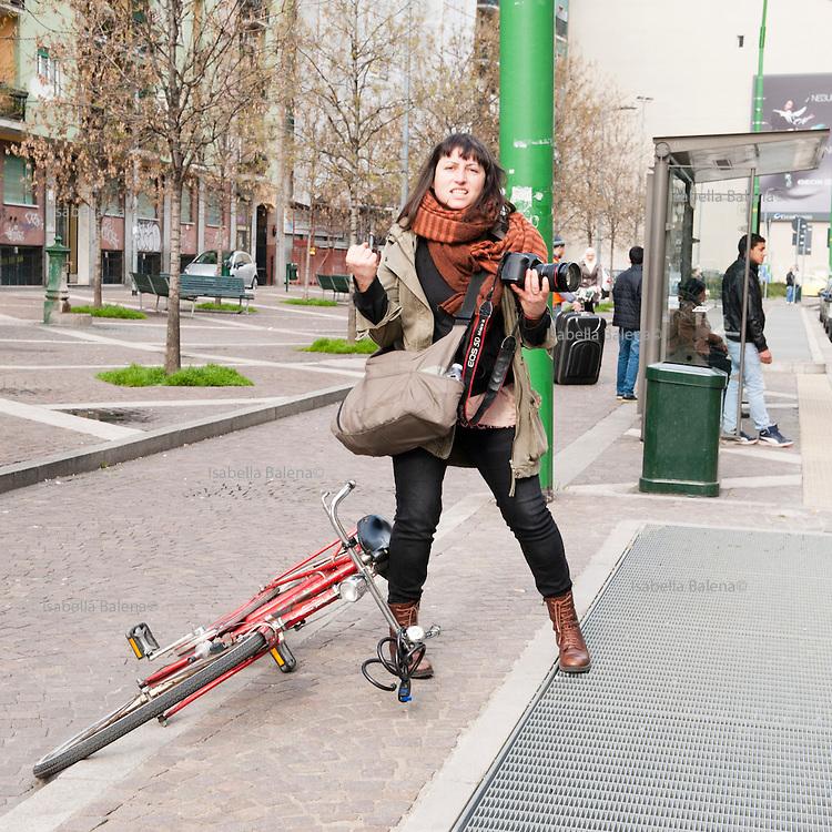 Bicilettata organizzata da Associazione Aisha, donne mussulmane, via Palmanova-Corso Venezia, Milano