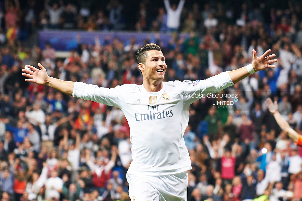 Cristiano Ronaldo (forward, Real Madrid F.C.) celebrates a goal during the UEFA Champions League match between Real Madrid and FC Shakhtar Donetsk at Santiago Bernabeu on September 15, 2015 in Madrid