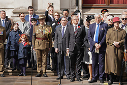 © Licensed to London News Pictures. 25/04/2019. London, UK. International Trade Secretary Liam Fox (centre) at The Cenotaph on Whitehall to mark Anzac Day. Photo credit : Tom Nicholson/LNP