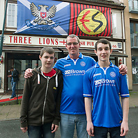 Rosenborg v St Johnstone....17.07.13  UEFA Europa League Qualifier.<br /> St Johnstone fans in Trondheim..Pictured from left Connor McKay, Graeme McKay and Andrew McKay<br /> Picture by Graeme Hart.<br /> Copyright Perthshire Picture Agency<br /> Tel: 01738 623350  Mobile: 07990 594431