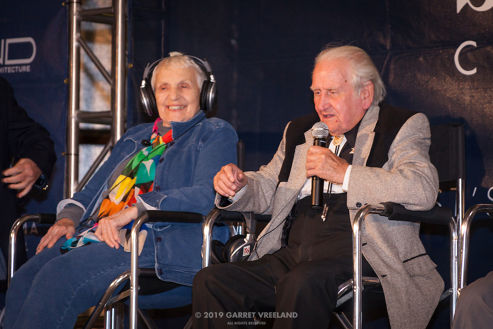 Denise McCluggage, Norman Dewis sharing stories, Planes and Cars at the Santa Fe Airport, 2013 Santa Fe Concorso.