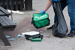 ©Licensed to London News Pictures 25/07/2020     <br /> Chislehurst, UK. First aid equipment and blood on the ground outside the pub. Police at the Gordon Arms pub this afternoon in Chislehurst, South East London after two men got stabbed last night. Police were called to the scene at 20:52hrs on 24.07.20. This incident is linked to the hit and run murder in Chislehurst. Photo credit: Grant Falvey/LNP