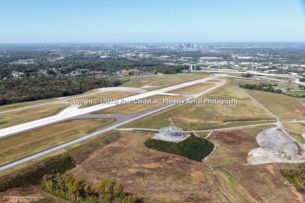 Aerial Photo Of The Nashville VORTAC. A Navigational Aid Used For High And Low Level Enroute Navigation. Downtown Nashville Skyline In The Background.