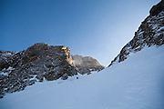Sterling Roop skis down a couloir below Hayden Peak, San Juan Mountains, Colorado.
