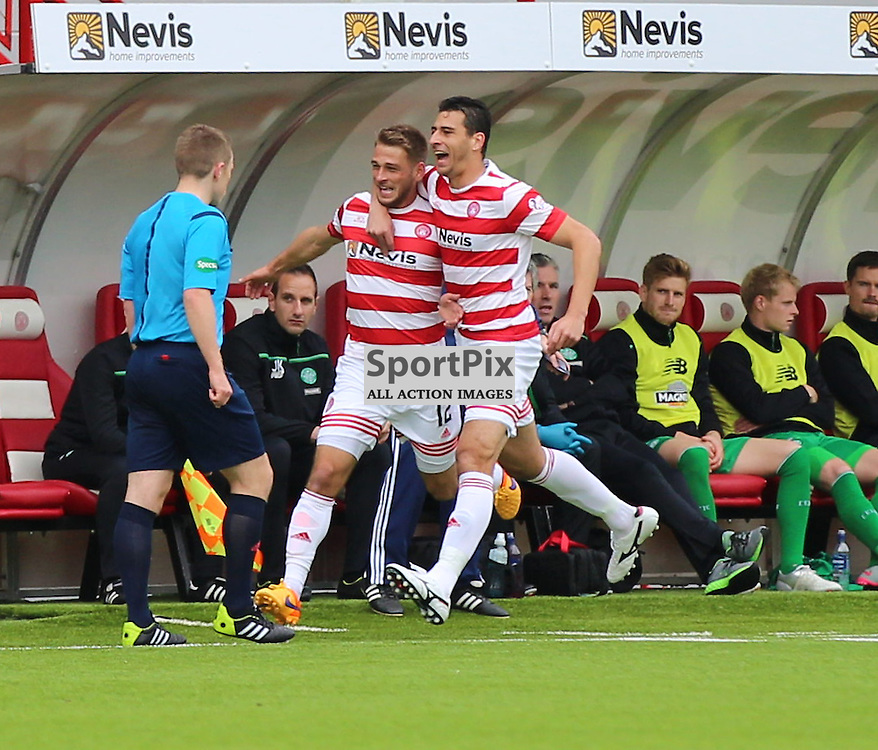 Hamilton Academical v Celtic Scottish Premiership 4 October 2015; Gramoz Kurtaj (Hamilton Academical, 12) and Lucas Tagliapietra (Hamilton Academical, 44) celebrate during the Hamilton Academical v Celtic Scottish Premiership match played at New Douglas Park, Hamilton <br /> <br /> &copy; Chris McCluskie | SportPix.org.uk