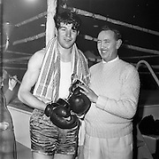 26/01/1962<br /> 01/26/1962<br /> 26 January 1962<br /> Irish Amateur National Junior Boxing Championships at the National Stadium, Dublin. D. Murray, Matt Talbot Boxing Club, Cork, winner Heavyweight title with his trainer, D. Atkinson.