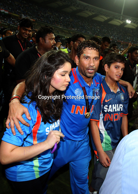Sachin Tendulkar celebrates winning the final against Sri Lanka at the ICC Cricket World Cup - Final India vs Sri Lanka Played at Wankhede Stadium, Mumbai.2 April 2011 - day/night (50-over match)
