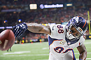 NEW ORLEANS, LA - NOVEMBER 13:  Demaryius Thomas #88 of the Denver Broncos spikes the ball after catching a touchdown pass during a game against the New Orleans Saints at Mercedes-Benz Superdome on November 13, 2016 in New Orleans, Louisiana.  The Broncos defeated the Saints 25-23.  (Photo by Wesley Hitt/Getty Images) *** Local Caption *** Demaryius Thomas