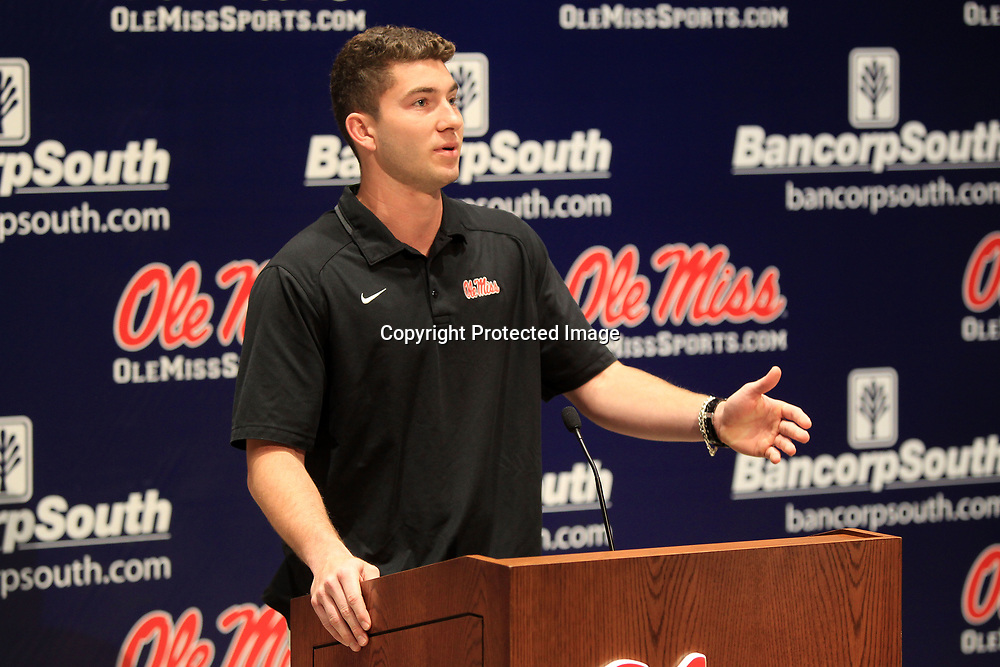 Ole Miss quarterback Shea Patterson, takes questions from the media at The Manning Center at Ole Miss on Monday afternoon.