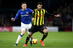 Everton's Gylfi Sigurdsson (left) and Watford's Etienne Capoue (right) battle for the ball during the Premier League match at Vicarage Road, Watford.