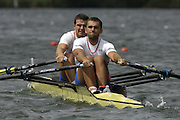 2005 FISA World Cup, Rotsee, Lucerne, SWITZERLAND, 08.07.2005 CRO M2X, Bow Mario Vekic and Ante Kusurinh.  move away from the start  on the opening day of the final round of the 2005 FISA Rowing World Cup..© Peter Spurrier.  email images@intersport-images..[Mandatory Credit Peter Spurrier/ Intersport Images] Rowing Course, Lake Rottsee, Lucerne, SWITZERLAND.